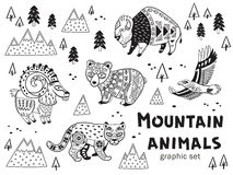 Black and white set of mountain animals. Collection of mountain animals in vector. Outline ornamental illustration in ethnic, tribal style for children coloring royalty free illustration