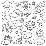 Black and white set of nature objects. Vector cartoon collection of weather icons. Sun, clouds, rainbow, moon stock illustration