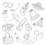 Black and white set with objects for beach holidays theme Stock Images
