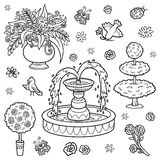 Black and white set of objects from the royal garden. Vector cartoon fountain, flowers, bushes for a princess Stock Photos