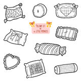 Black and white set of pillows, cartoon collection Royalty Free Stock Image