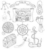 Black and white set with pirate objects Stock Images