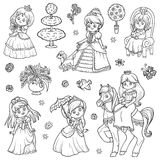 Black and white set of princess. Vector cartoon collection of children`s characters stock illustration