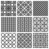 Black and white Set of seamless geometric patterns. Simple design elements collection, monochrome background Stock Images