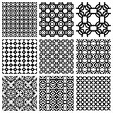 Black and white Set of seamless geometric patterns. Simple design elements collection, monochrome background Royalty Free Stock Photos