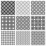 Black and white Set of seamless geometric patterns. Simple design elements collection, monochrome background Stock Image