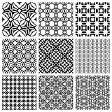 Black and white Set of seamless geometric patterns. Simple design elements collection, monochrome background Royalty Free Stock Photo
