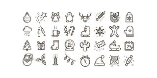 Set of simple line art vector outline icons on the theme of Christmas and New Year holidays vector illustration