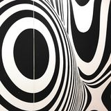 Black and white seventies inspired psychedelic retro pattern Stock Images