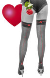 Black and white sexy woman legs with a red rose and heart Royalty Free Stock Photo