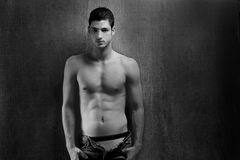 Black and white sexy young denim shirtless man Stock Photography