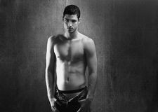 Black and white sexy young denim shirtless man Royalty Free Stock Photo