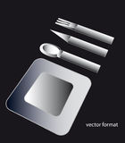 Black and white shaded designed plate and cutlery Stock Images