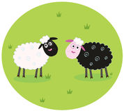 Black and white sheep. The difference - oposite sheep, black and white. Stylized  cartoon Illustration Stock Photo