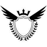 Black and white shield with wings Royalty Free Stock Photos