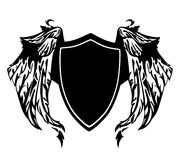 Black and white shield with wings - heraldic vector design Royalty Free Stock Images