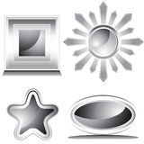 Black and White Shiny Icon Set Royalty Free Stock Image
