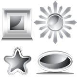 Black and White Shiny Icon Set Royalty Free Stock Image