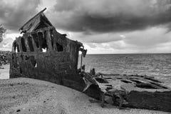 Black and white. Shipwrecked HMQS Gayundah Stock Photos