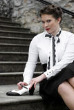 Black and white shoe. Young attractive women dressed in forties style, swing era Stock Images