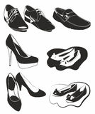 Black and white shoes. Silhouette of men's and women's shoes Royalty Free Stock Photos