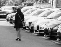 Black and white Shopping new car woman choosing car in a row Royalty Free Stock Images