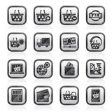 Black an white shopping and retail icons Stock Photography