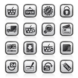 Black an white shopping and retail icons Royalty Free Stock Images