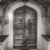 Black and white shot of ancient doors Royalty Free Stock Photography