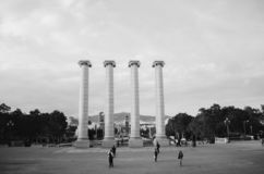 Black and white shot of architectural columns in the park stock photography