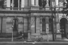 Black and white shot of building exterior stock images