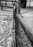 Focus on the Fence Post Royalty Free Stock Image