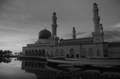 Black and White shot of the City Mosque in Sabah, Kota Kinabalu, Malaysia on the island of Borneo. stock images