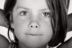 Black and White Shot of a Cute Child stock photos