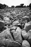 Deserted Stone Lanscape. Black and white shot of deserted landscape. Stone are due to the illegal mining in the area Royalty Free Stock Photo