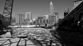 A black and white shot of frozen Cuyahoga River - CLEVELAND - OHIO. Cleveland is a major city in Ohio on the shores of Lake Erie. Landmarks dating to its days as stock images