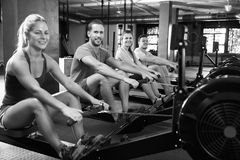 Black And White Shot Of Gym Class Using Rowing Machines Stock Photography