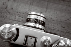 Black and white shot from high point of vintage film camera Stock Images