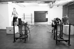 Black And White Shot Of People In Gym Circuit Training Royalty Free Stock Photos
