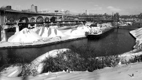 A black and white shot of Progressive Field and the Cuyahoga River - CLEVELAND - OHIO. Cleveland is a major city in Ohio on the shores of Lake Erie. Landmarks royalty free stock photos