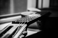 Fretboard of aged guitar Royalty Free Stock Photo