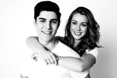 Black and white shot of young couple royalty free stock image