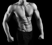 Black and white shots of a male fitness model royalty free stock image