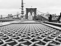 Black and White Side Profile of Brooklyn Bridge stock images