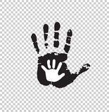 Black and white silhouette of adult and baby hand isolated. On transparent background. Mother or father and child handprint. Big and little palms. Social Royalty Free Stock Images