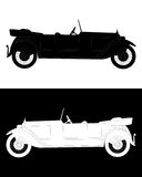 Black and white silhouette of a  car. Black and white silhouette of a retro car in a white and black backgrounds Stock Photography