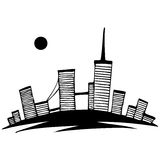Black and white silhouette of city. Vector simple  Royalty Free Stock Photo