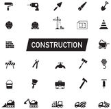 Black and White silhouette Civil engineering, maintenance labor, Stock Image