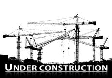 Black and white silhouette of construction site and tower crane Stock Image