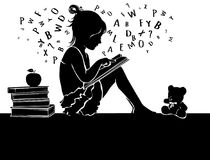 Silhouette cute little girl reading book with teddy bear Royalty Free Stock Image